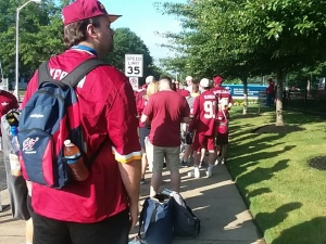 Fans entering training camp in the morning.
