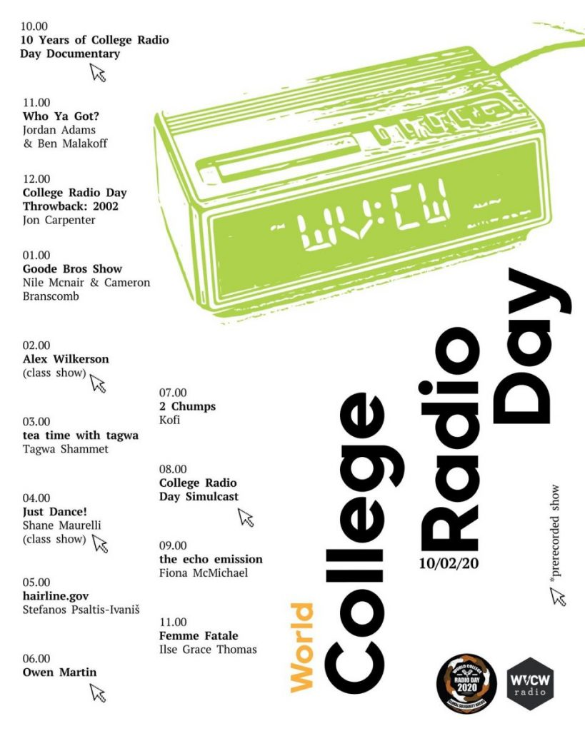 Functional Image - WVCW World College Radio Day Show Lineup - Link goes to radio player